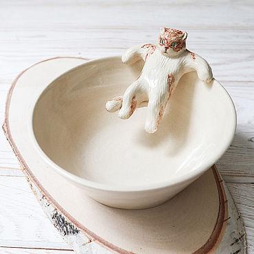"""Посуда ручной работы. Ярмарка Мастеров - ручная работа Миска """"Кот отдыхает"""". Handmade."""