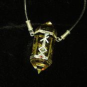 Фен-шуй и эзотерика handmade. Livemaster - original item Rune crystal.Citrine,silver,garnet,leather cord.. Handmade.