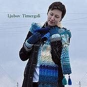 Scarves handmade. Livemaster - original item Knitted Wool Scarf Blue Geometric Long Winter Snood Knit Accessories. Handmade.