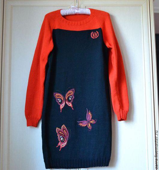 """Платья ручной работы. Ярмарка Мастеров - ручная работа. Купить Платье вязанное """" Бабочки"""". Handmade. Платье, платье зимнее"""