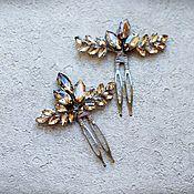 Свадебный салон handmade. Livemaster - original item A set of pins for the hair in gold color rhinestone. Handmade.