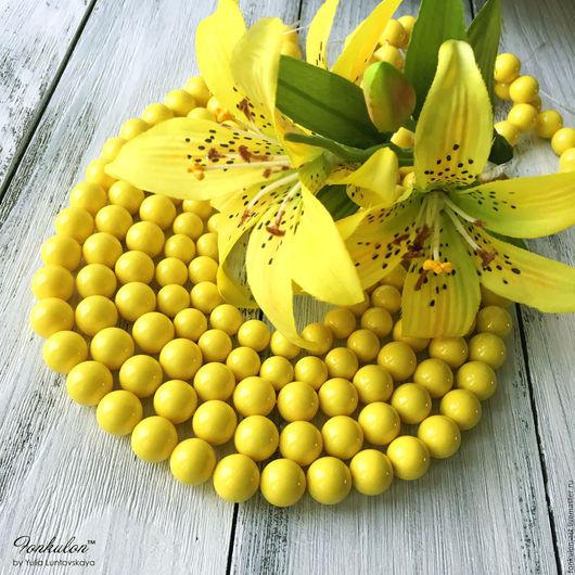 Для украшений ручной работы. Ярмарка Мастеров - ручная работа. Купить Жемчуг Майорка Лимонный желтый бусины 10мм 12мм. Handmade.