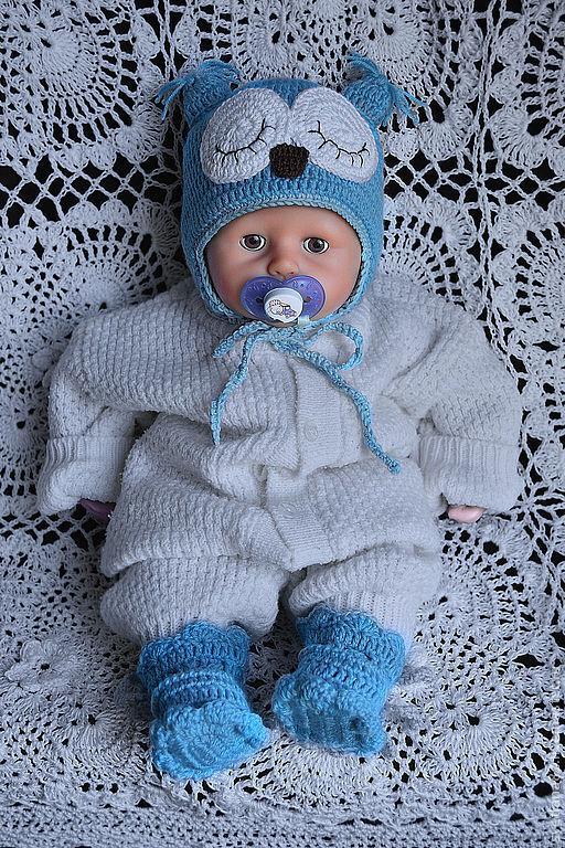 """Для новорожденных, ручной работы. Ярмарка Мастеров - ручная работа. Купить Комплект """"Спящий совенок"""" голубой. Handmade. Голубой"""