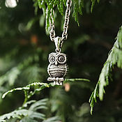 "Украшения handmade. Livemaster - original item Pendant ""Owl"" of silver 925 and black zircons. Handmade."
