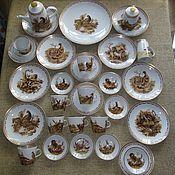 """Сервизы винтажные ручной работы. Ярмарка Мастеров - ручная работа Чайно-кофейный сервиз """"Охота"""" на 8 персон от Lichte, Германия. Handmade."""
