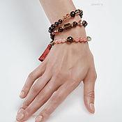 Украшения handmade. Livemaster - original item Triple bracelet-beads, Garnet bracelet. Handmade.