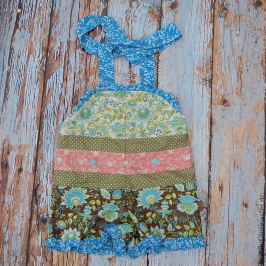 Одежда для девочек, ручной работы. Ярмарка Мастеров - ручная работа. Купить Комбинезон боди с рюшками кричневый голубой Хлопок 1 2 г. Handmade.