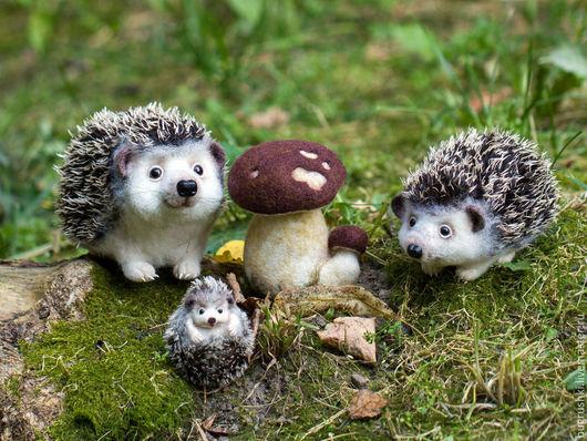 Игрушки животные, ручной работы. Ярмарка Мастеров - ручная работа. Купить У гриба. Handmade. Белый, ежик, еж из шерсти