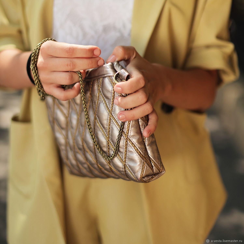 Women's handbag, cross-body, gold clutch, gold bag (150), Crossbody bag, Saratov,  Фото №1