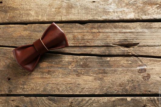 Галстуки, бабочки ручной работы. Ярмарка Мастеров - ручная работа. Купить Кожаная галстук - бабочка ручной работы. Коричневая галстук - бабочка. Handmade.