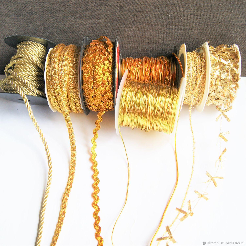 Золотистые шнуры и тесьма  для упаковки и декора, Шнуры, Москва,  Фото №1