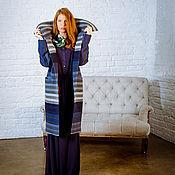 Одежда ручной работы. Ярмарка Мастеров - ручная работа Зимнее утепленное полосатое пальто. Handmade.