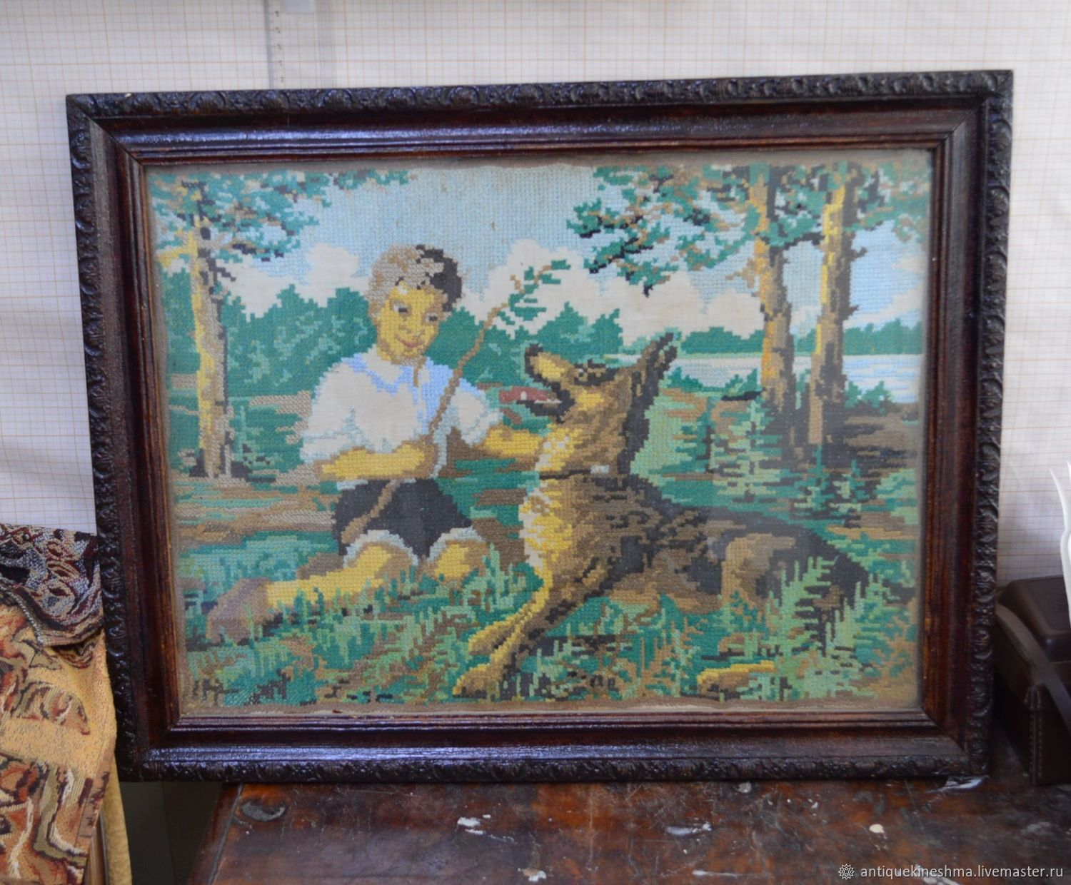 Painting-embroidery 'Boy with a dog' in the frame of the USSR, Vintage interior, Kineshma,  Фото №1