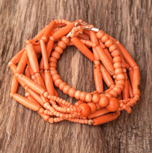 Для украшений ручной работы. Ярмарка Мастеров - ручная работа. Купить Оранжевые бусины из кости. Handmade. Оранжевый, длинные бусины