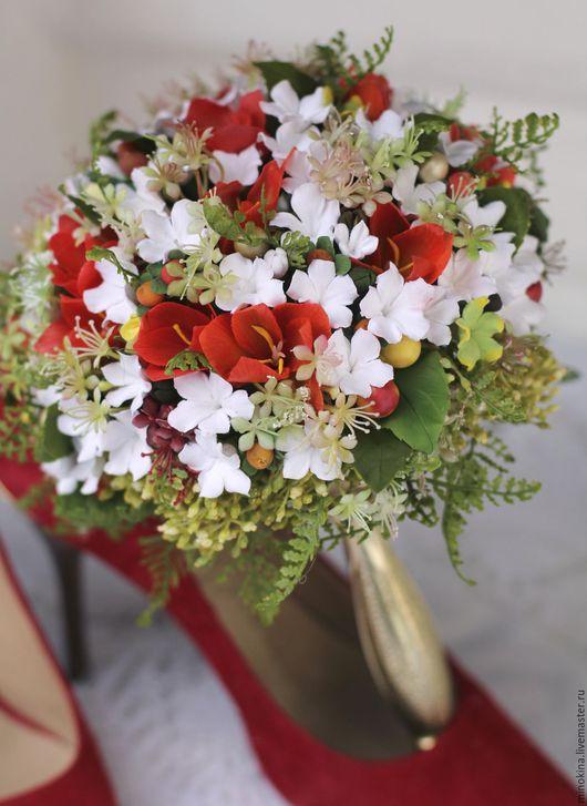 """Свадебные цветы ручной работы. Ярмарка Мастеров - ручная работа. Купить Свадебный букет """"Дыхание любви"""". Handmade. Ярко-красный"""