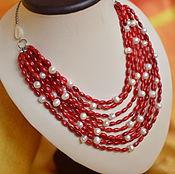 Украшения handmade. Livemaster - original item a necklace of red corals and pearls