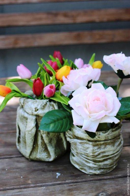 Декор поверхностей ручной работы. Ярмарка Мастеров - ручная работа. Купить тюльпаны,цветочные композиции для интерьера. Handmade. Ярко-красный