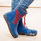 """Обувь ручной работы. Ярмарка Мастеров - ручная работа Валенки  """"Синие ночи"""" синий валенки шерсть. Handmade."""