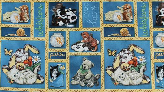 """Шитье ручной работы. Ярмарка Мастеров - ручная работа. Купить Ткань  """"Котенок и К"""" №2. Handmade. Ткани, ткань с котами"""