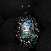 Украшения handmade. Livemaster - original item Pendant with genuine Ethiopian opals in glass (Viking, Nickel silver). Handmade.