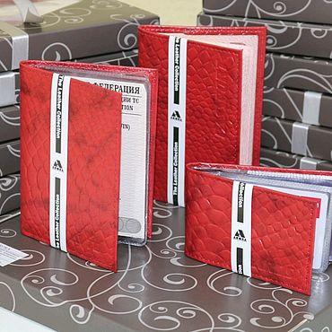 Аксессуары ручной работы. Ярмарка Мастеров - ручная работа Подарочный набор из кожи Алый питон. Handmade.
