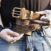 Ремни ручной работы. Ярмарка Мастеров - ручная работа Ремень кожаный с тиснением под заказ. Handmade.