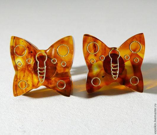 """Серьги ручной работы. Ярмарка Мастеров - ручная работа. Купить Янтарные серьги """"Бабочка"""" S-13. Handmade. Желтый"""