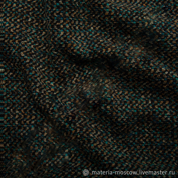 Костюмная ткань 100% шерсть Шанель коричневый бирюзовый черный Италия Артикул: C040030