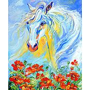 """Картины и панно ручной работы. Ярмарка Мастеров - ручная работа """"Лошадь Белая"""" картина маслом с маками и лошадью. Handmade."""