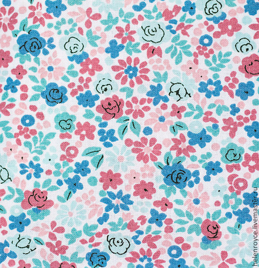 Шитье ручной работы. Ярмарка Мастеров - ручная работа. Купить Ткань Хлопок Голубые цветы на белом Ширина 220см тильда. Handmade.