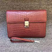 Сумки и аксессуары handmade. Livemaster - original item Crocodile leather clutch bag in Burgundy color!. Handmade.