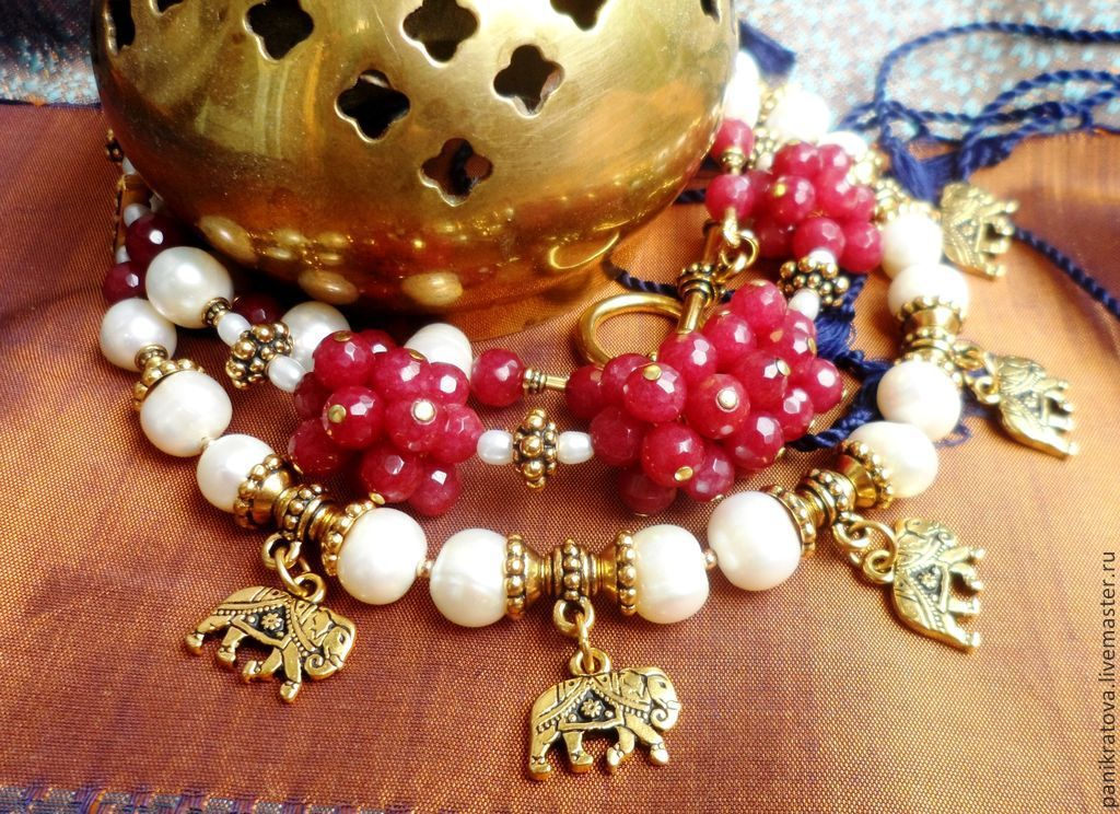 Necklace 'Golden elephant' (ruby,pearl), Necklace, Moscow,  Фото №1