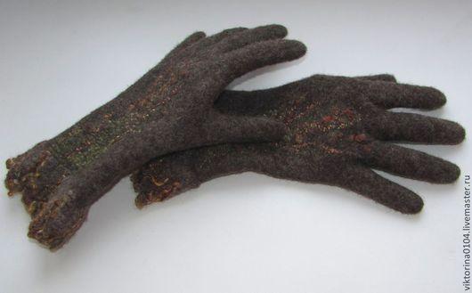 """Варежки, митенки, перчатки ручной работы. Ярмарка Мастеров - ручная работа. Купить Перчатки """"Кедровый грильяж"""". Handmade. Коричневый, шерсть"""