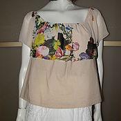 Одежда ручной работы. Ярмарка Мастеров - ручная работа Блузка-топ р.46-52 хлопок с шифоном. Handmade.