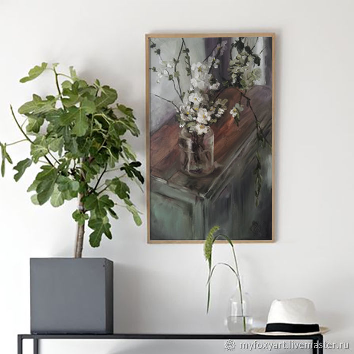 Apple branch, oil painting on canvas, white flowers in a vase, Pictures, St. Petersburg,  Фото №1