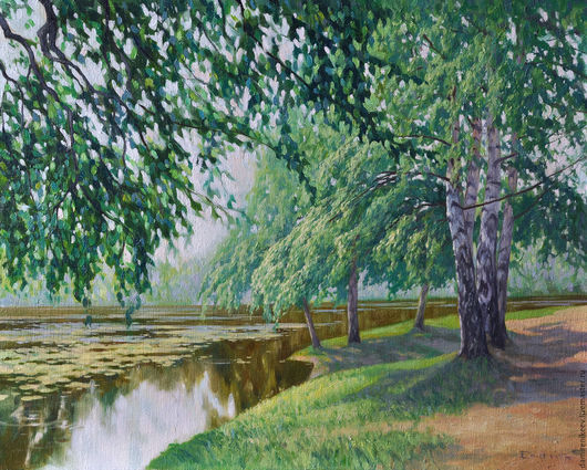 Красивый летний пейзаж.Берёзы.Пейзаж с берёзами.Берёзы у пруда.Картина в подарок.Вода.Картина маслом.картина на холсте.