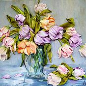"""Картины и панно ручной работы. Ярмарка Мастеров - ручная работа Картина вышитая лентами """"Большой букет тюльпанов"""". Handmade."""