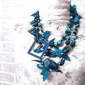 Украшения handmade. Livemaster - original item Turquoise long beads, decoration transformer of the two necklaces. 2 meters. Handmade.