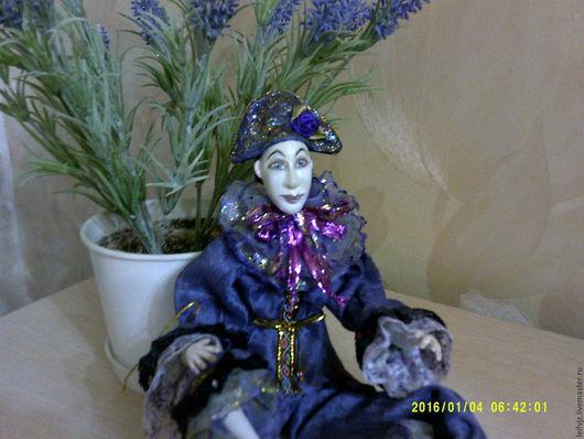 Коллекционные куклы ручной работы. Ярмарка Мастеров - ручная работа. Купить Клоун Пьеро. Handmade. Тёмно-фиолетовый, акриловые краски