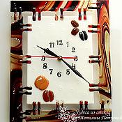 Для дома и интерьера ручной работы. Ярмарка Мастеров - ручная работа Настенные часы КОФЕ?! , фьюзинг, стекло. Handmade.