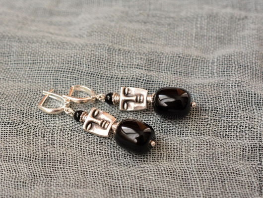 """Серьги ручной работы. Ярмарка Мастеров - ручная работа. Купить серьги с чёрным ониксом """"Sleeping"""". Handmade. Черный, серебряные серьги"""