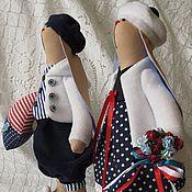 """Куклы и игрушки ручной работы. Ярмарка Мастеров - ручная работа Зайки Тильда """"Морская парочка"""". Handmade."""