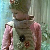 Аксессуары ручной работы. Ярмарка Мастеров - ручная работа вязаный комплект шапка а шарф. Handmade.