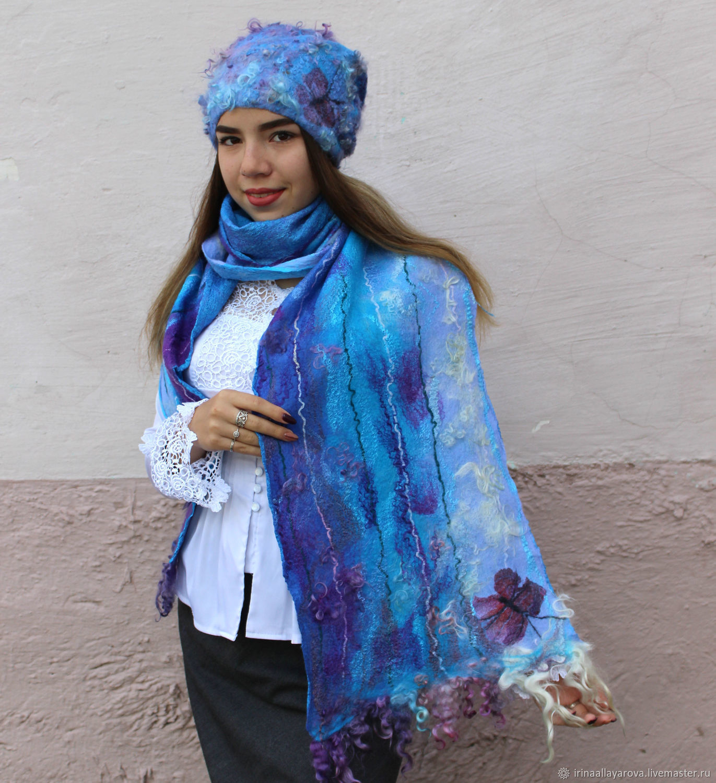 Felted scarf, cap ' Lilac dreams', Caps, Verhneuralsk, Фото №1