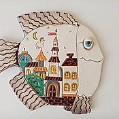 Картины и панно handmade. Livemaster - original item Ceramic hand panel: Fish-Picture. Handmade.