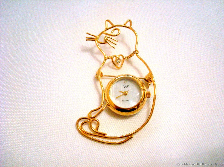Винтаж: WF. БРОШЬ - ЧАСЫ. КОШКА. JAPAN, Винтажные часы, Москва,  Фото №1