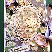 """Открытки ручной работы. Ярмарка Мастеров - ручная работа Открытка большая """"С днем рождения!"""" сиреневая. Handmade."""