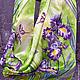 """Шарфы и шарфики ручной работы. Ярмарка Мастеров - ручная работа. Купить Шарф шелковый """"Ирисы на зеленом"""" батик. Handmade. Салатовый"""