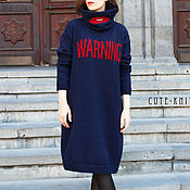 Dresses handmade. Livemaster - original item Tunic dress blue Warning with the lips. Handmade.