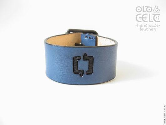"""Браслеты ручной работы. Ярмарка Мастеров - ручная работа. Купить Кожаный браслет Синий """"Один за Всех"""". Handmade. Синий"""
